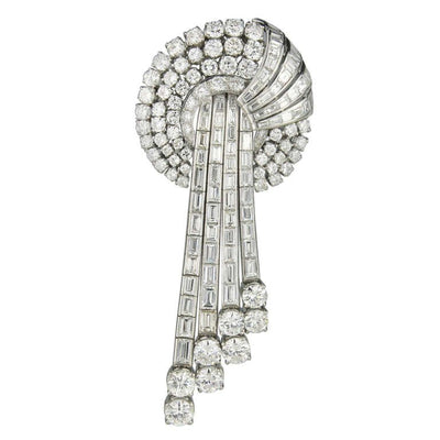 20 Carat Diamond  Retro Platinum Brooch