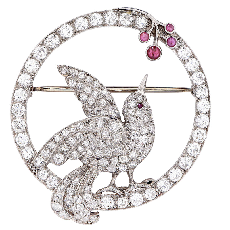 Art Nouveau Bird Picking Berries Motif Diamond Ruby Platinum Brooch