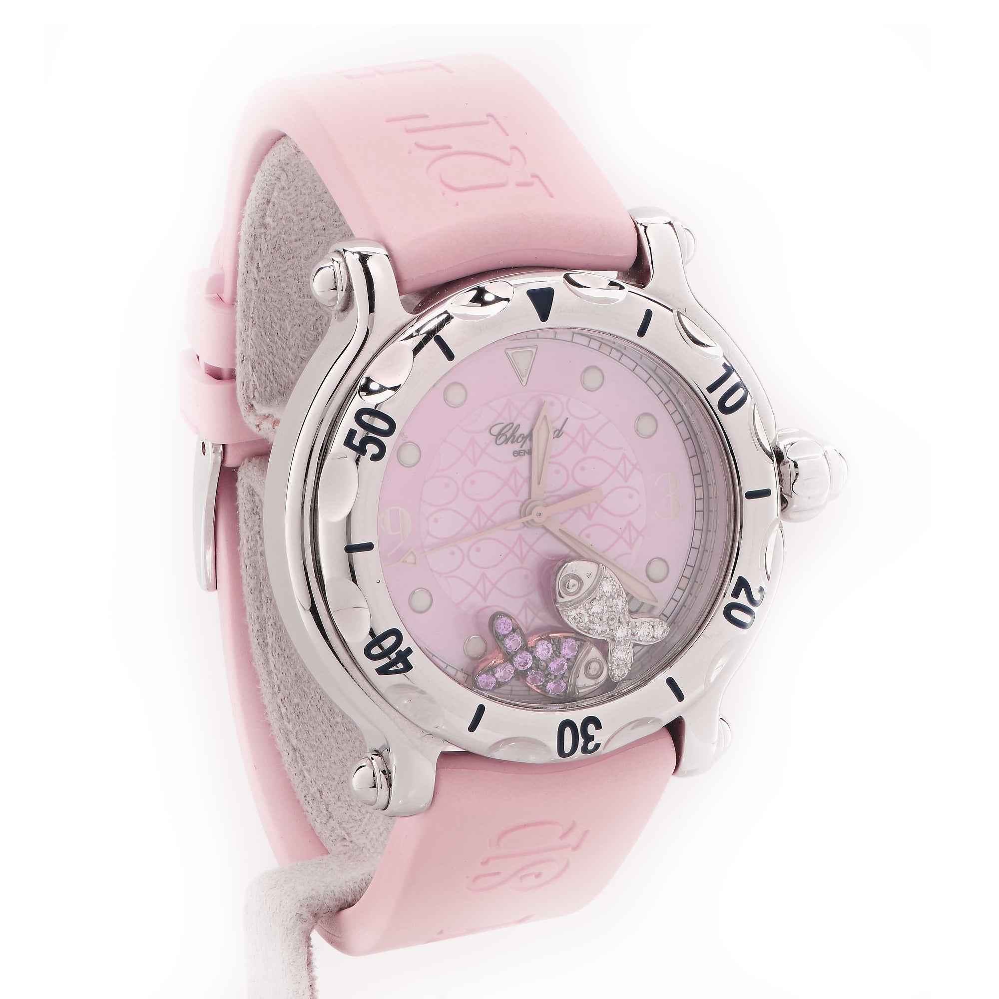 Chopard Ladies Stainless Steel Happy Beach Pink Wristwatch