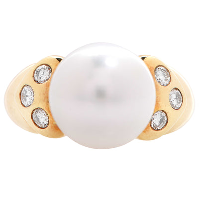 11.5 mm Cultured Pearl Diamond Gold Ring