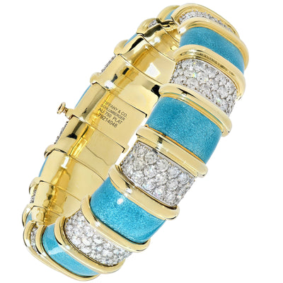 Tiffany Schlumberger Blue Enamel and Diamond Bracelet