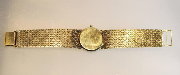 1970's Ebel Watch with Jade Dial and Diamond Bezel on a gold bracelet.
