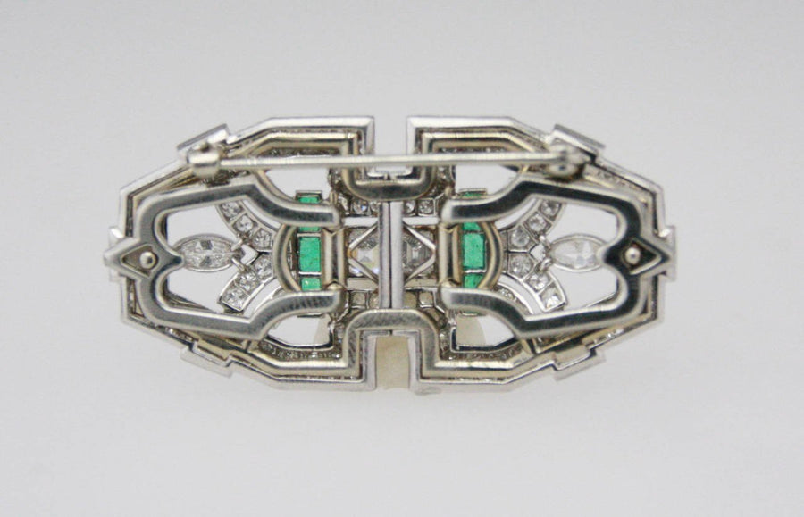 8 Carat Art Deco Double Clip Emerald Diamond Platinum Brooch
