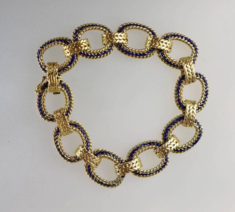Blue Enamel 18 Karat Yellow Gold Link Bracelet