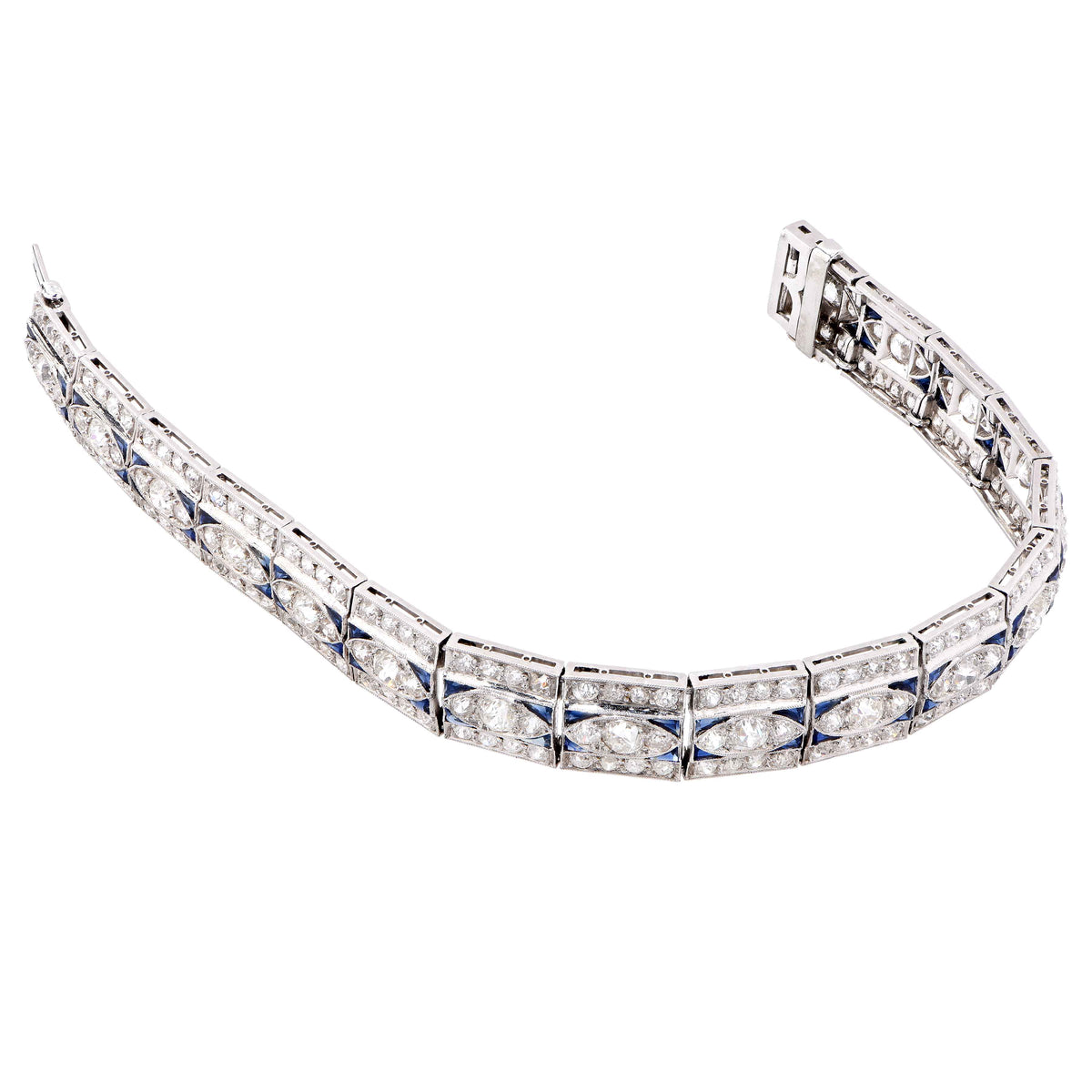 Art Deco 5.5 Carat Diamond and 2 Carat Sapphire Platinum Bracelet