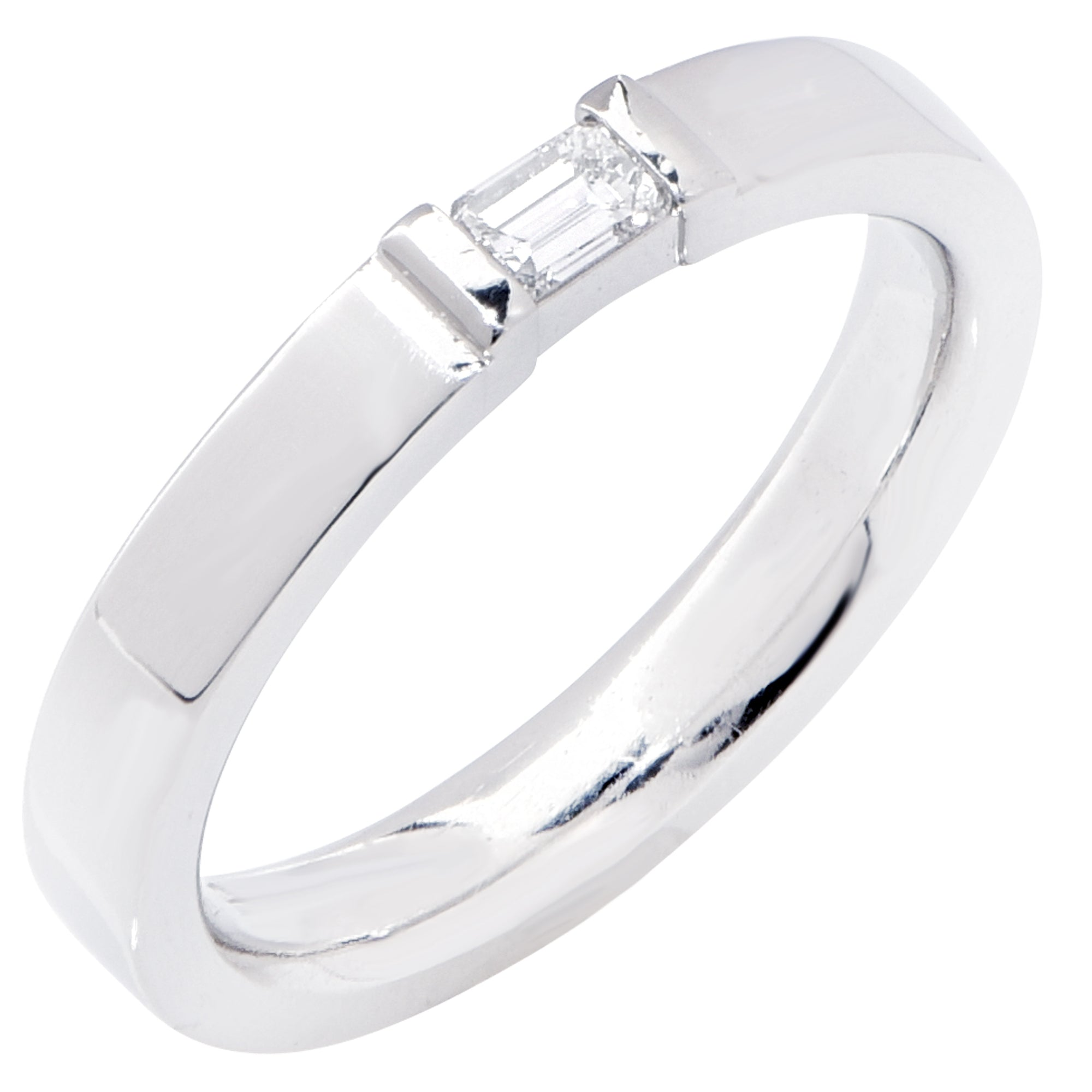 Emerald Cut Diamond Platinum Wedding Band Ring