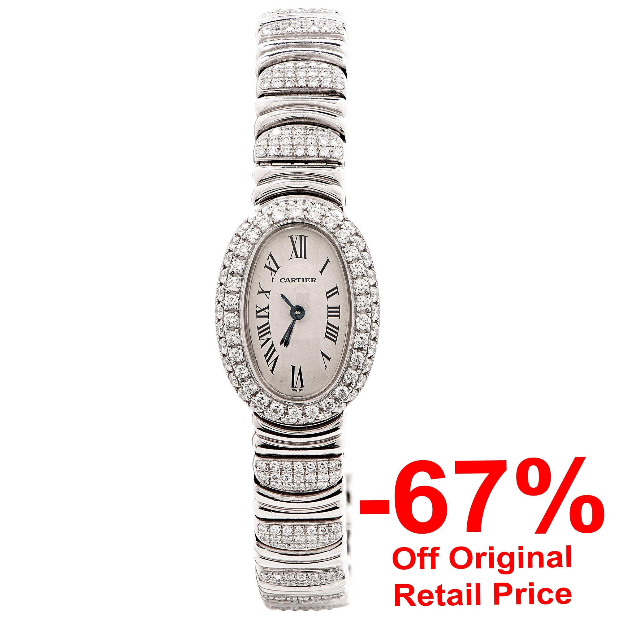 Cartier Baignoire Mini Ladies Diamond White Gold Bracelet Watch