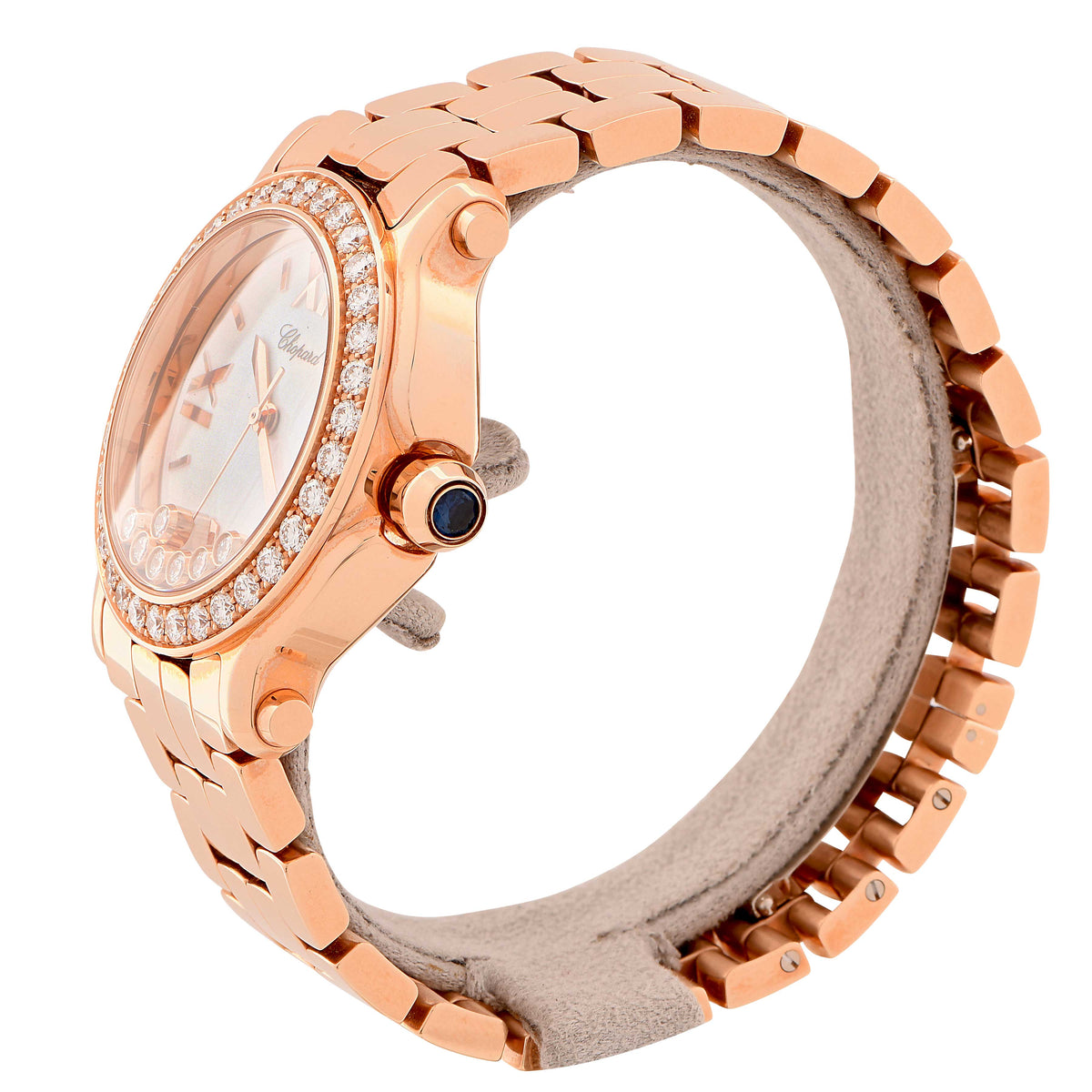 New Chopard Ladies Rose Gold Happy Sport Quartz Wristwatch Ref 277481-5001
