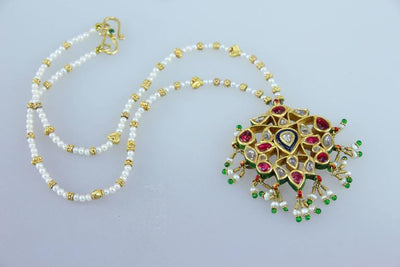Reversible Enamel Seed Pearl Cut Diamond Gold Indian Necklace