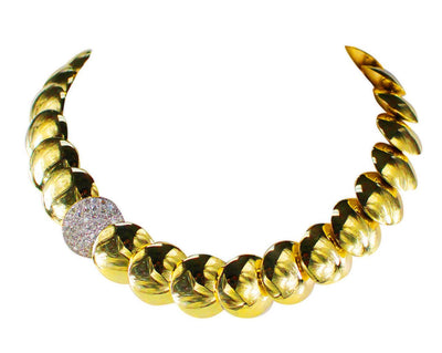 1990s High Polish Gold and Diamond Reversible Necklace