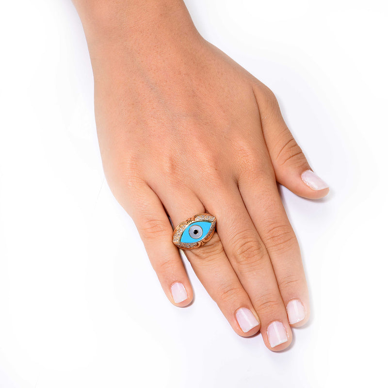 Evil Eye Turquoise Diamond Gold Ring