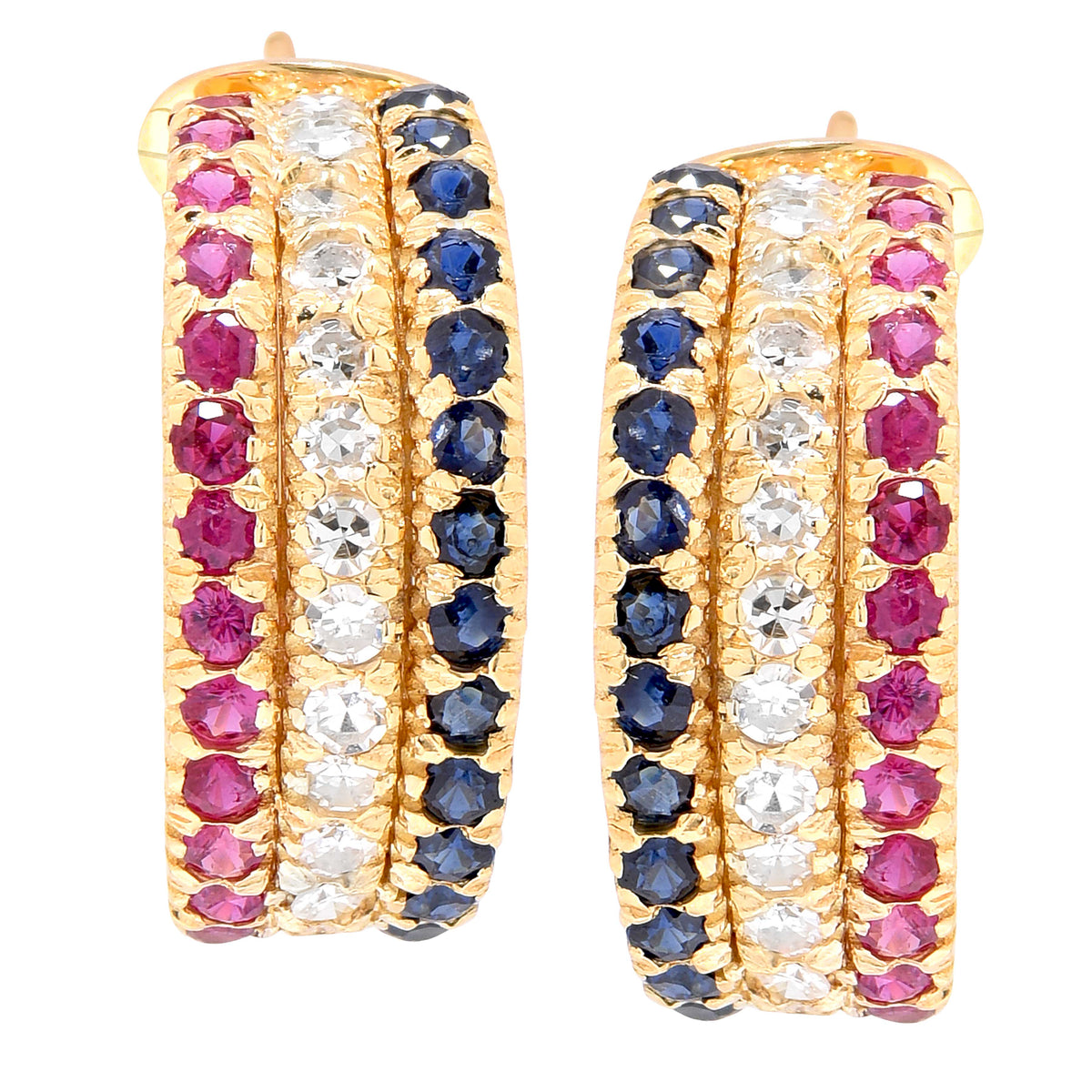 Diamond, Ruby and Sapphire Yellow Gold Earrings