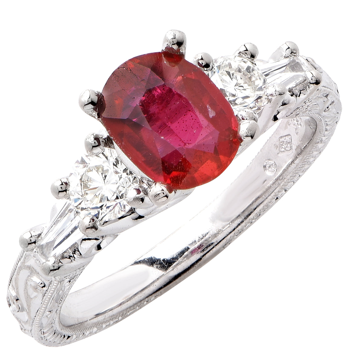 Natural Ruby Diamond White Gold Ring