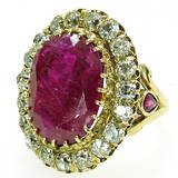 12 Carat Natural Ruby 3.5 Carat Diamond Cluster Ring