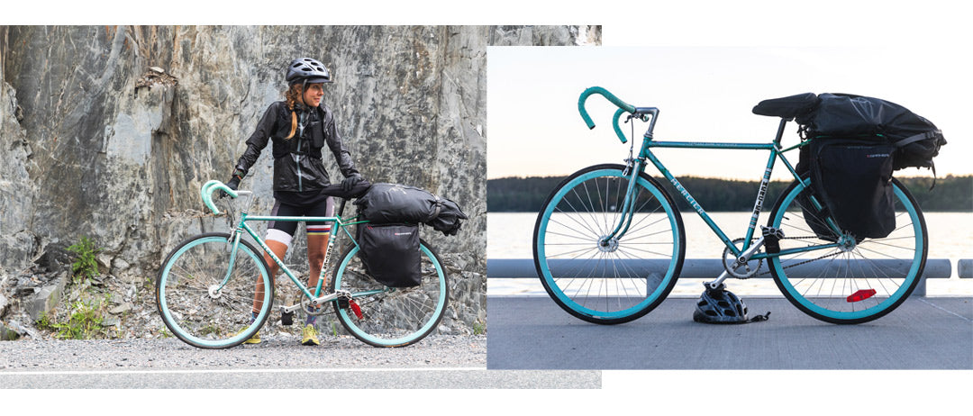 Caroline Côté's vintage turquoise Mercier single-speed bicycle