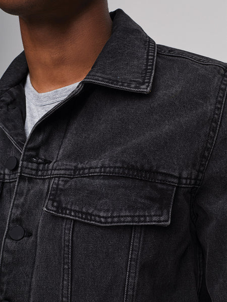 Vaughn Trucker Jacket | Smudge (Black)