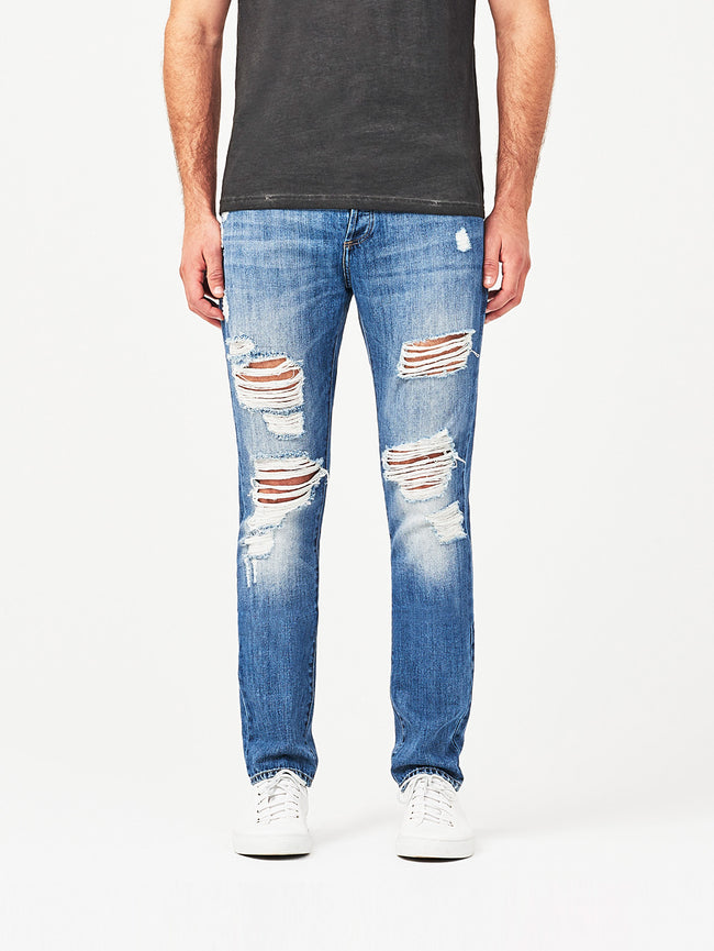Men - Distressed Blue Denim - Cooper Tapered Slim Oblivion - DL1961