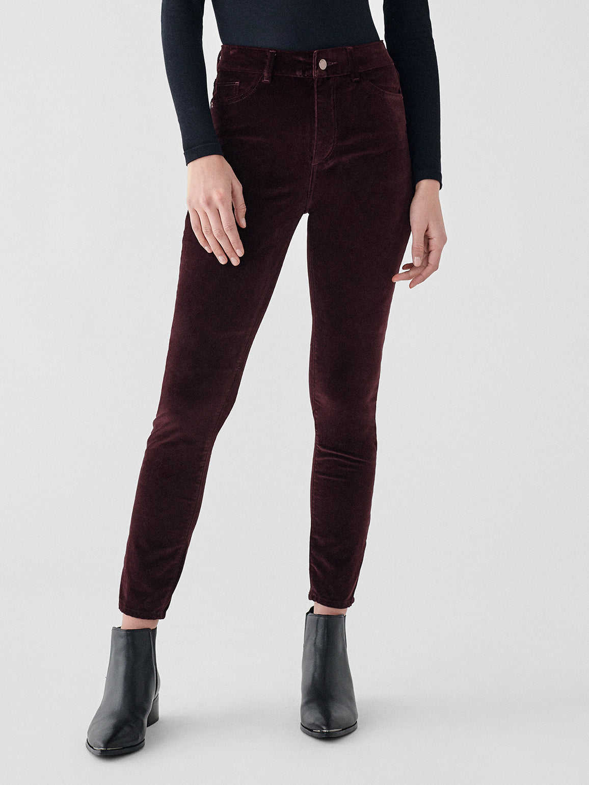 Farrow Ankle High Rise Velvet Skinny | Bordeaux
