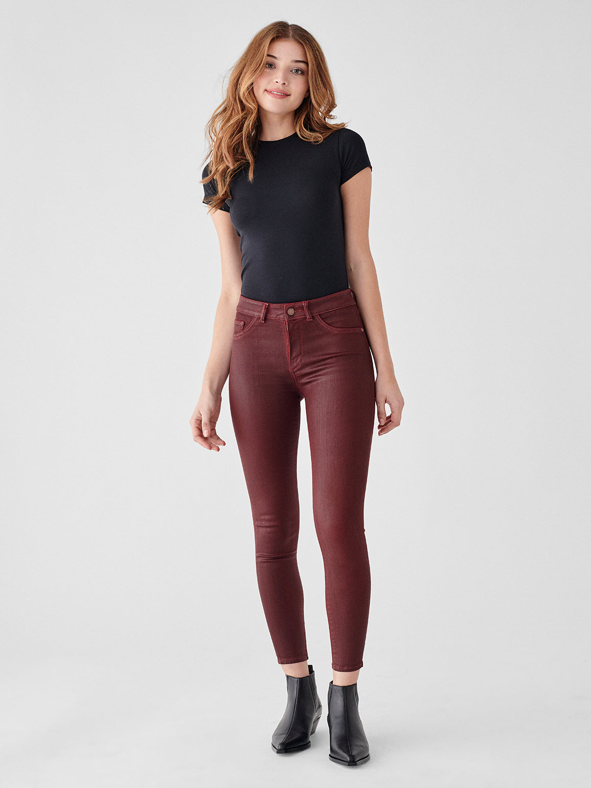 Florence Ankle Mid Rise Skinny | Merlot
