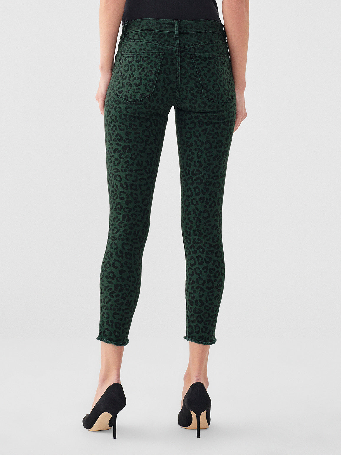 Florence Crop Mid Rise Skinny | Snow Leopard