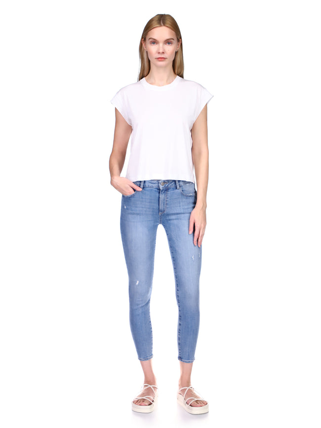 Florence Skinny Mid Rise Instasculpt Crop | Cloud Distressed