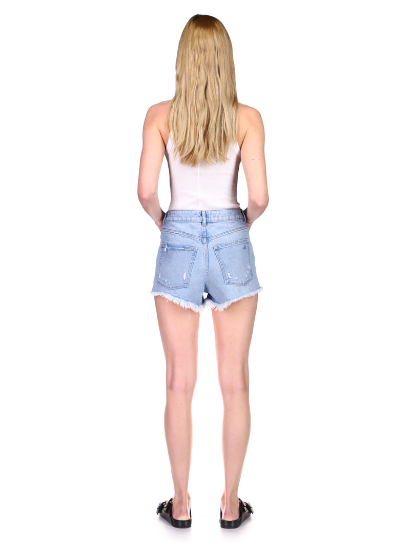 Cleo Short High Rise | Lapis Distressed