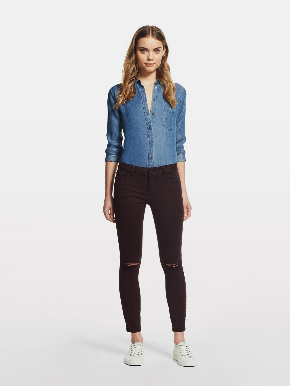 Image of Margaux Mid Rise Ankle Skinny / Malbec
