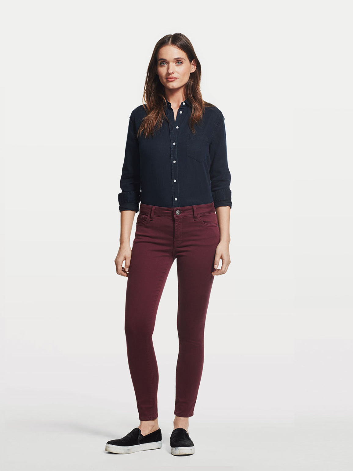 Image of Margaux Mid Rise Ankle Skinny / Mulberry