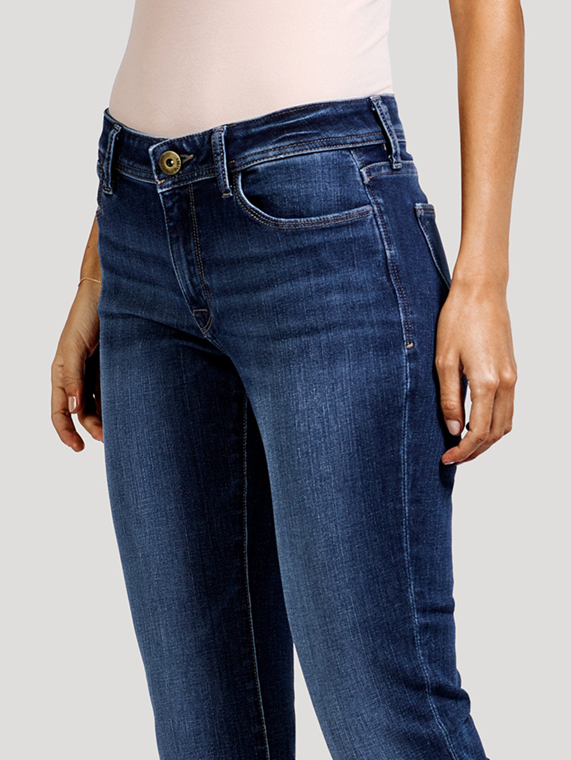 Coco Mid Rise Curvy Straight | Pacific