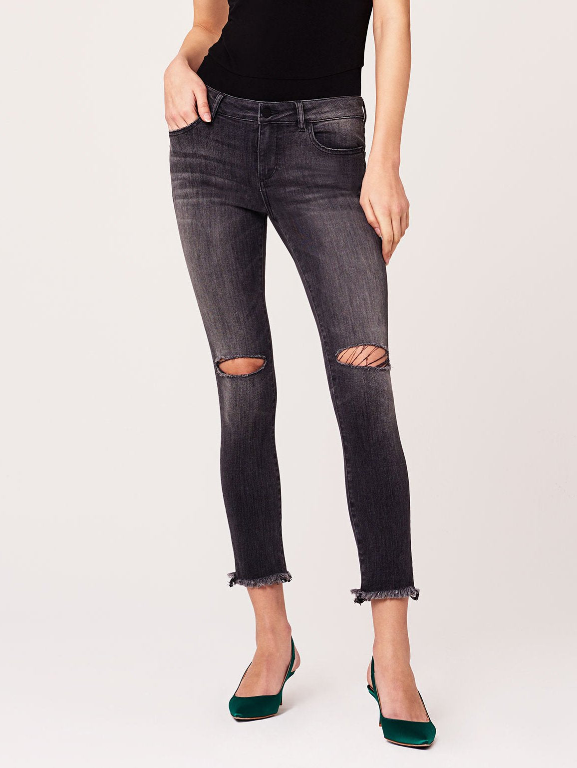 Image of Margaux Mid Rise Ankle Skinny / Quaker