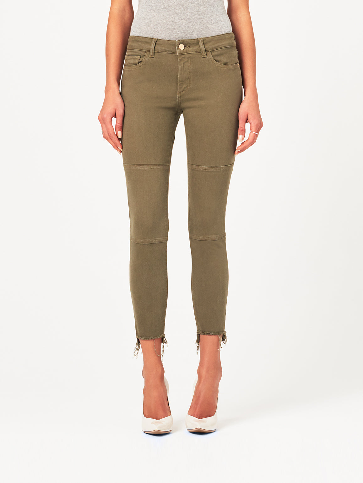 Image of Margaux Mid Rise Ankle Skinny / Cargo Green