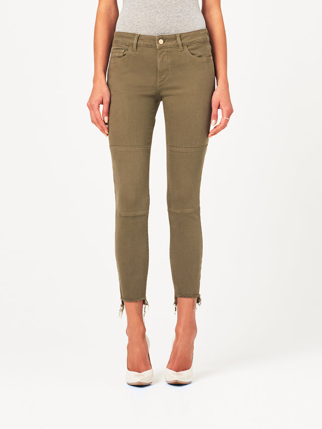 Margaux Mid Rise Ankle Skinny Cargo Green