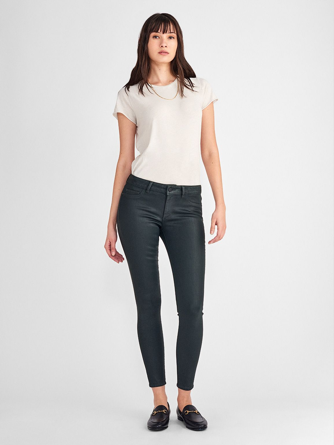 Emma Low Rise Coated Skinny | Ivy - DL1961