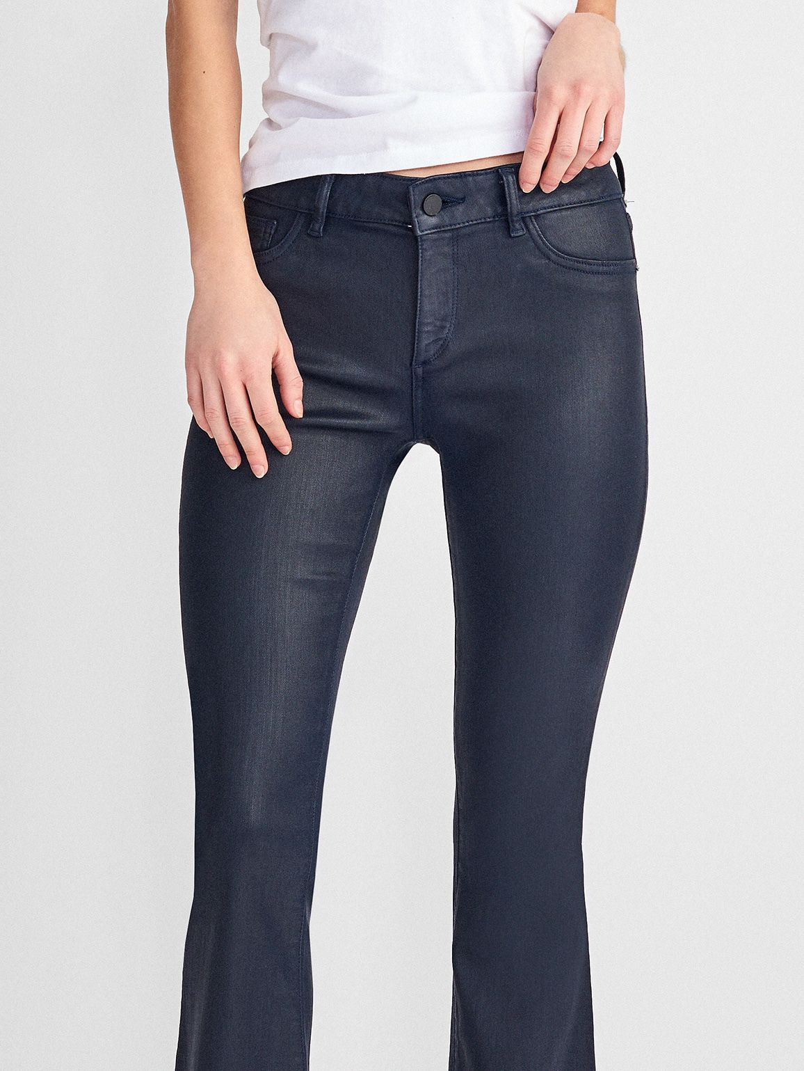 Women - Lara Coated Mid Rise Cropped Flare | Marin - DL1961