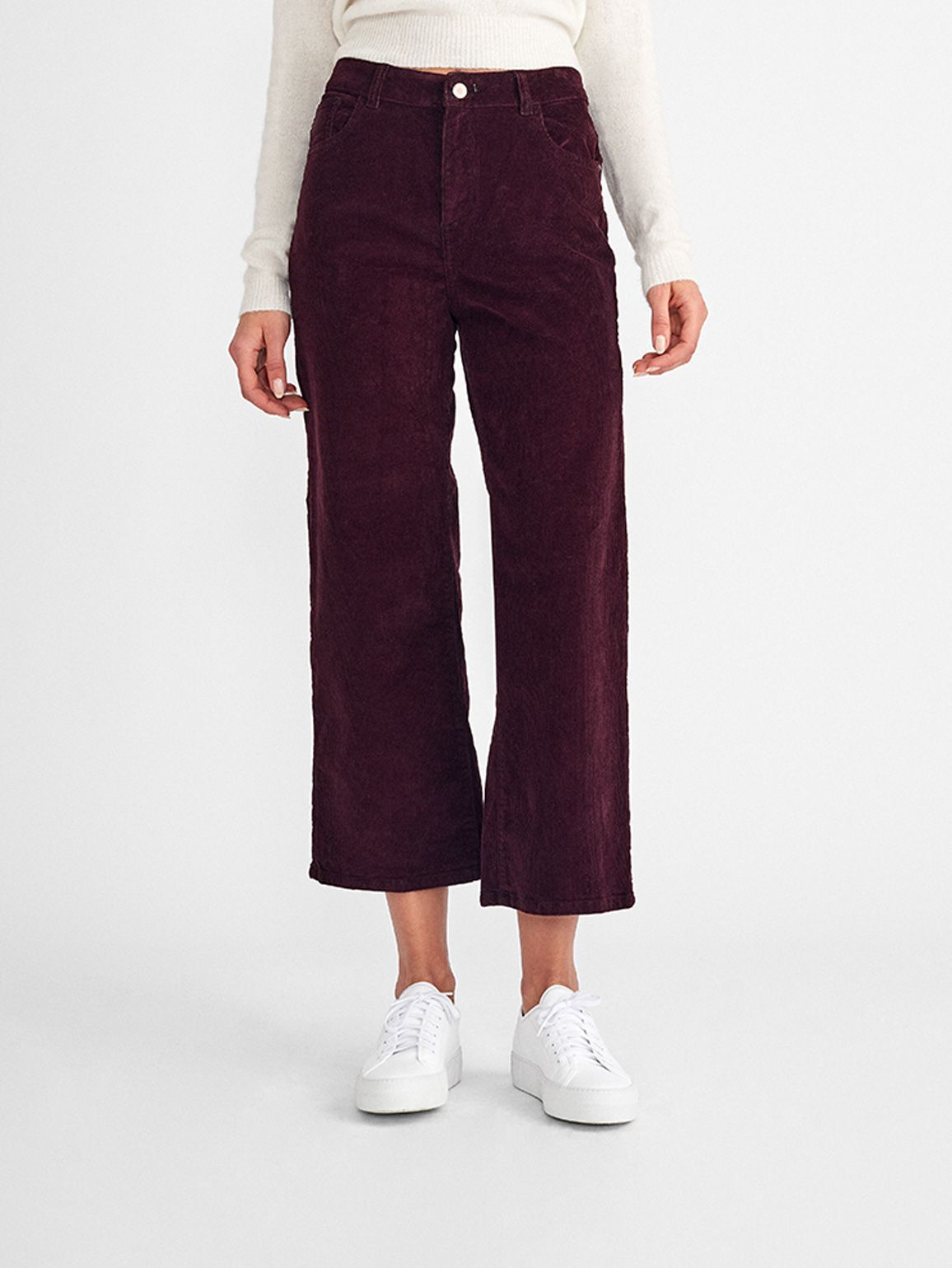 Hepburn High Rise Wide Leg | Garnet Red