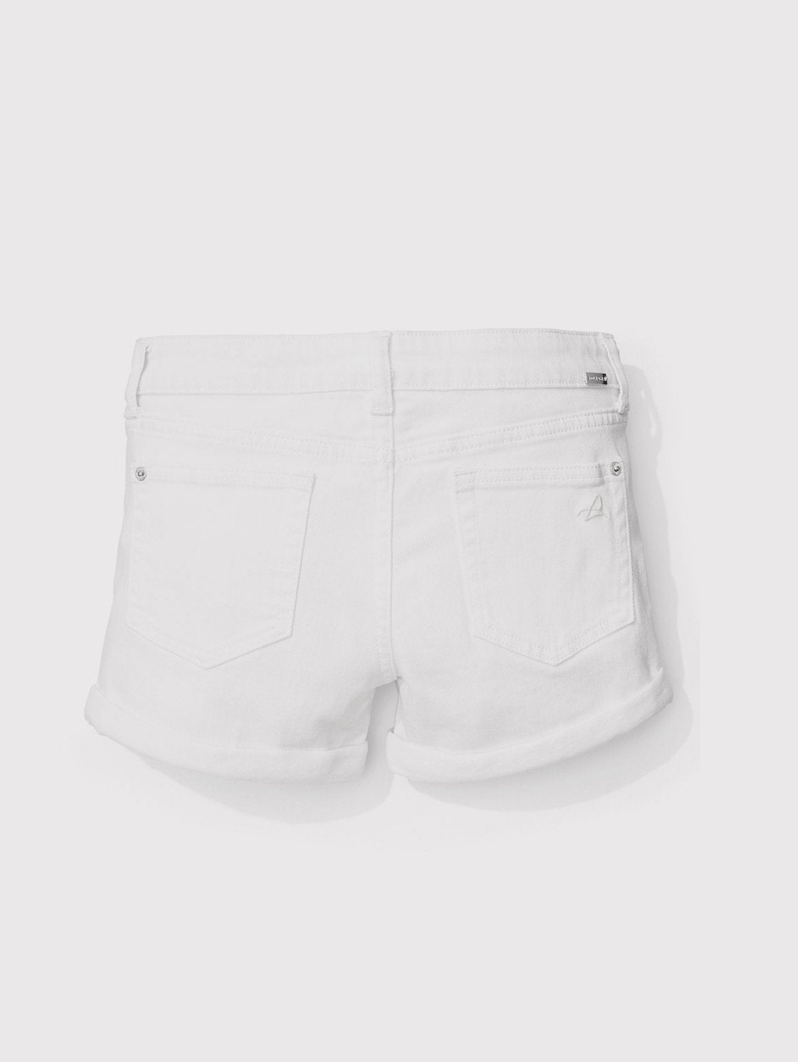 Girls - White Cuffed Denim Shorts - Piper/G Cuffed Short Griffon - DL1961