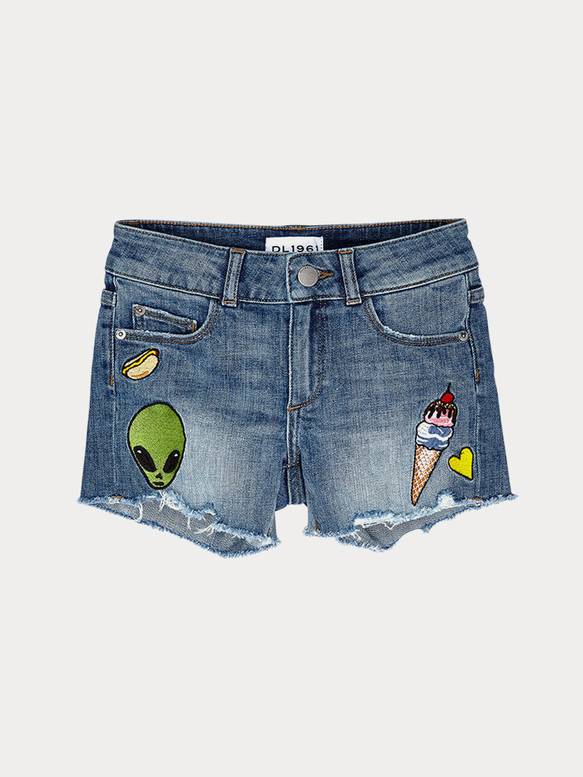 Girls - Patched Denim Shorts - Lucy/G Short Almost Famous - DL1961