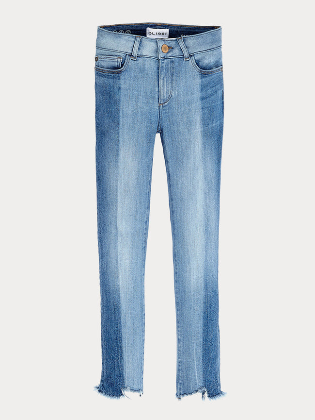 Girls - Two-Toned Wash With Frayed Hem Denim - Chloe/G Relaxed Skinny Hollywood - DL1961
