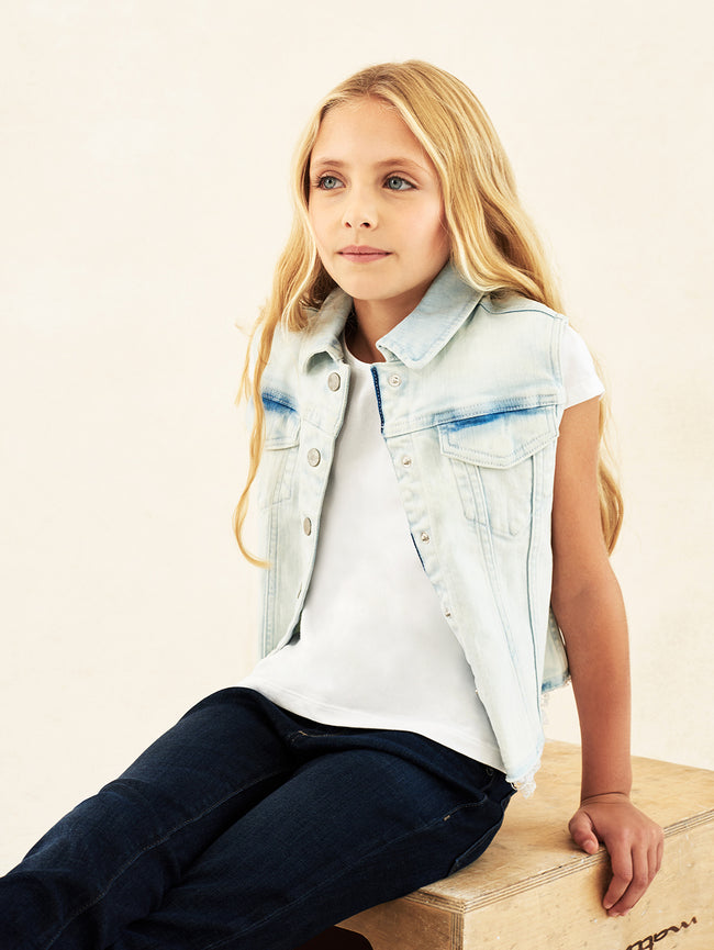 Kids Jacket - Bleached Denim Vest - Barbi Vest Surfside - DL1961