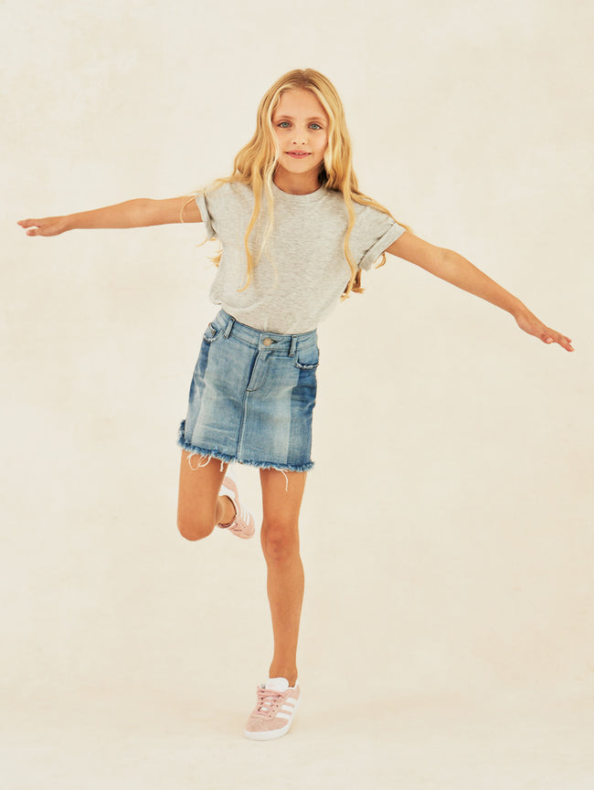 Girls - Color Blocked Denim Skirt - Jenny/G Skirt Hollywood - DL1961