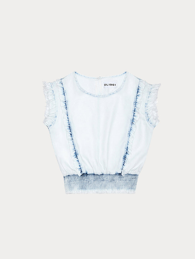 Toddler Girls - Audrey/Tg Ruffle Smocking Waist Top Irregular Bleach - DL1961