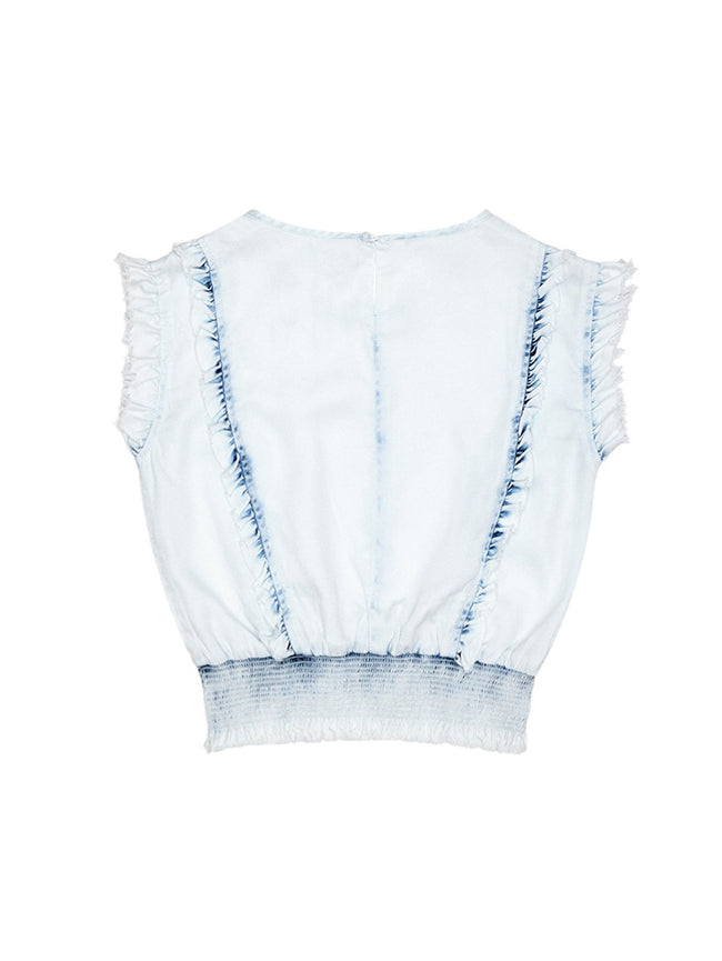 Girls - Audrey/G Ruffle Smocking Waist Top Irregular Bleach - DL1961