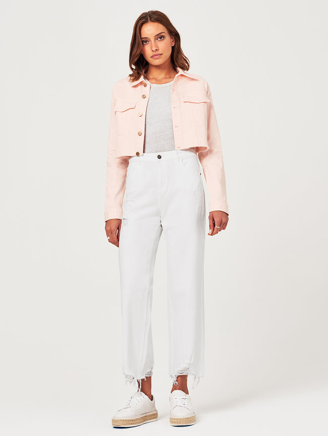 Shawn Cropped Boyfriend Jacket | Blush Pink DL 1961 Denim