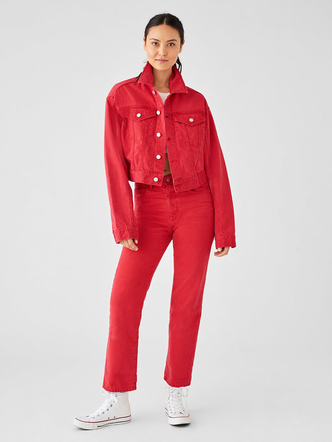 Annie Cropped Oversized Jacket | Outlaw Red - DL1961