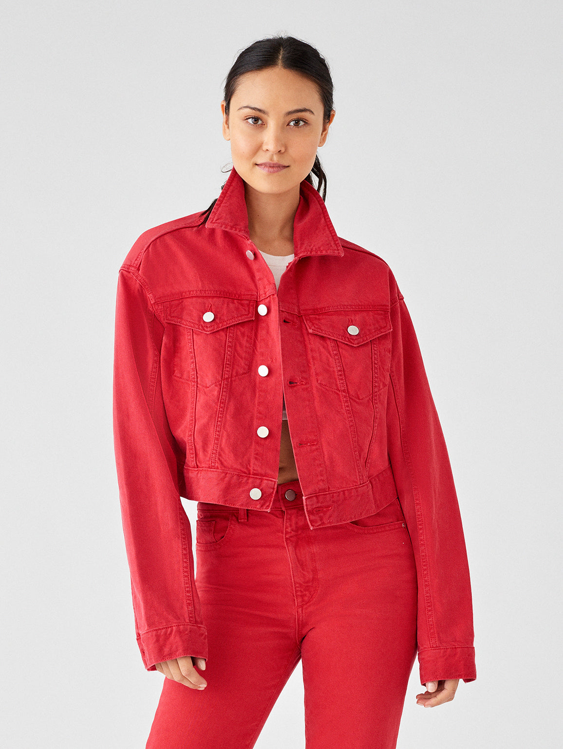 Shop DL1961 Premium Denim - Annie Cropped Oversized Jacket | Outlaw Red