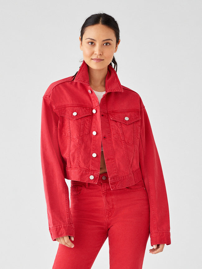 Women Jacket - Annie Cropped Jacket | Outlaw Red - DL1961