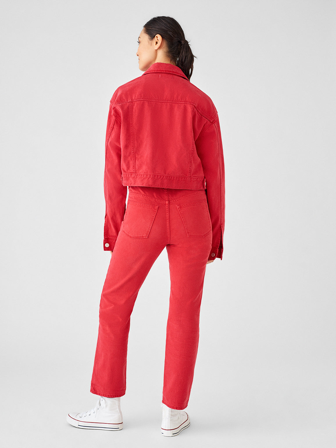 Women Jacket - Annie Cropped Oversized Jacket | Outlaw Red - DL1961