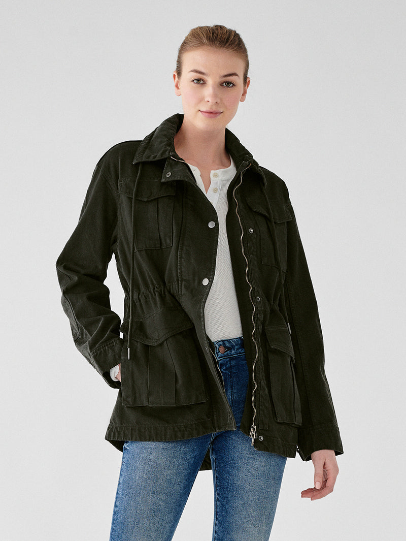 Annie Cropped Oversized Jacket | Dark Forest