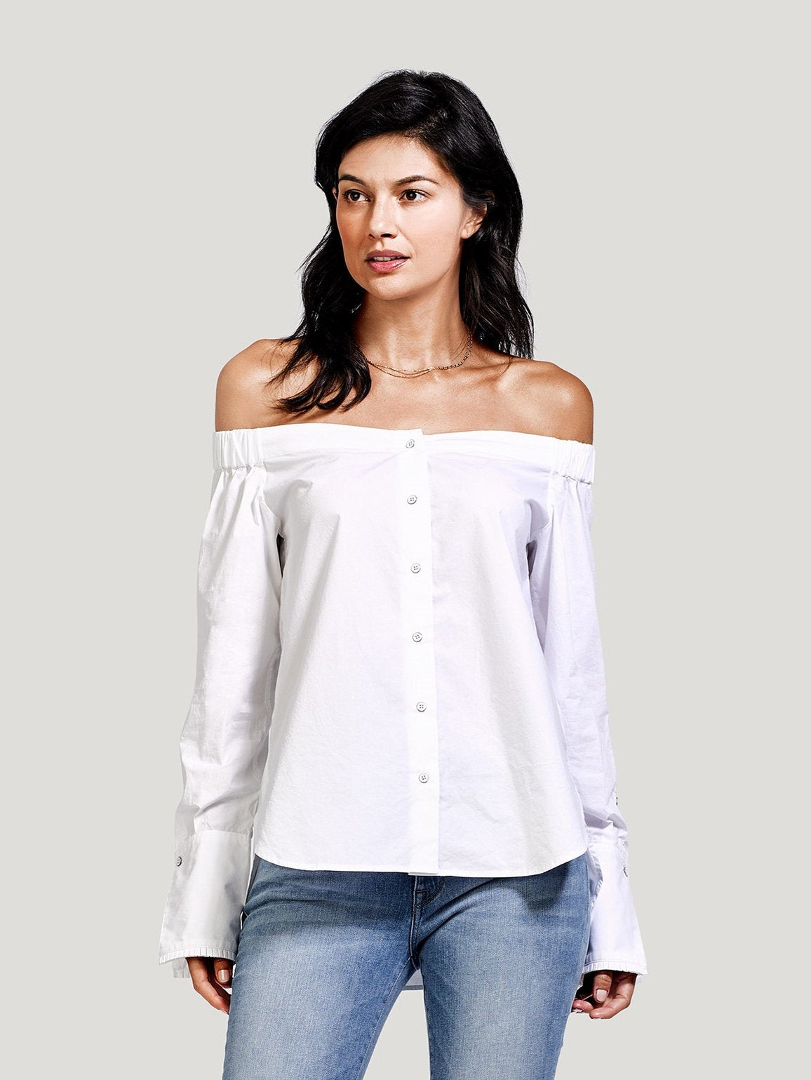 Image of East Hampton Off The Shoulder / White