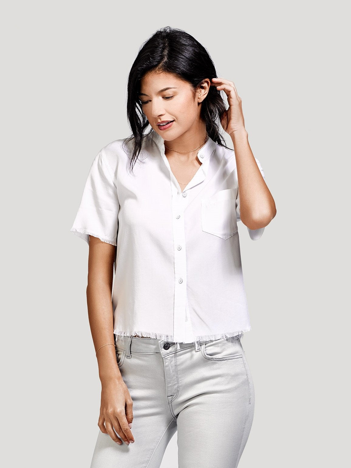 Image of Montauk Short Sleeve Crop / White